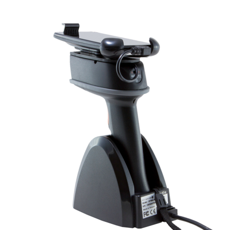Rear view of Saveo Scan with charging cradle